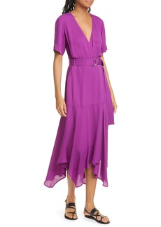 A.L.C. Claire Handkerchief Hem Silk Wrap Dress