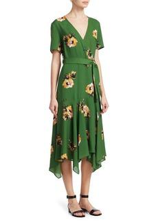 A.L.C. Cora Short-Sleeve Floral Silk Wrap Dress
