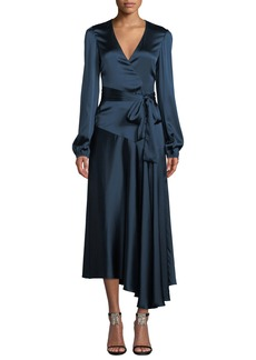A.L.C. Darby Asymmetric Long-Sleeve Silk Wrap Dress