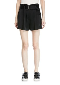 A.L.C. Deliah High-Waist Drapey Sateen Shorts