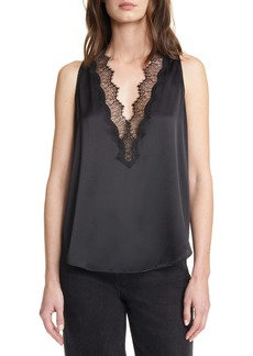 A.L.C. Delilah Lace Trim Stretch Silk Satin Top