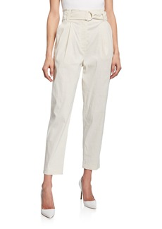 A.L.C. Diego Belted Skinny-Leg Stretch-Linen Ankle Pants