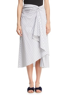 A.L.C. Diller Striped Draped Cotton Midi Skirt