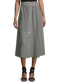 A.L.C. Divya Belted Striped Silk Midi Skirt