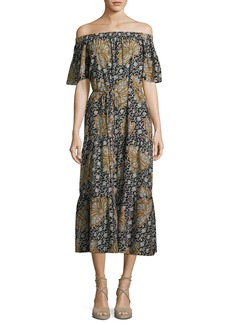 A.L.C. Doris Off-the-Shoulder Printed Midi Dress