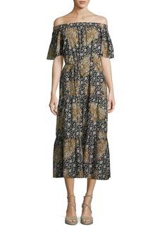 A.L.C. Doris Off-the-Shoulder Printed Midi Dress