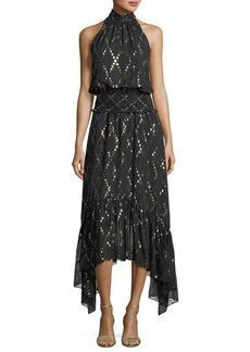 A.L.C. Easton Sleeveless Halter-Neck Long Chiffon Dress w/ Metallic
