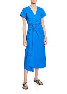 A.L.C. Edie V-Neck Short-Sleeve Ruched Dress w/ Slit