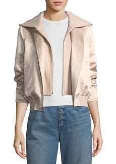 A.L.C. Edison Mixed-Media Zip-Front Hooded Bomber Jacket