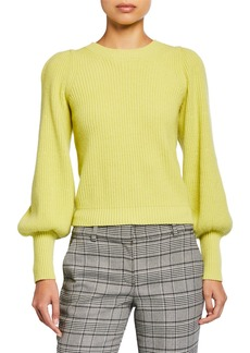 A.L.C. Eliana Crewneck Bishop-Sleeve Sweater