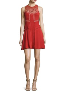 A.L.C. Elin Sleeveless Pintucked Silk Mini Dress