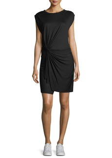 A.L.C. Elsie Crewneck Cap-Sleeve Knotted Jersey Dress