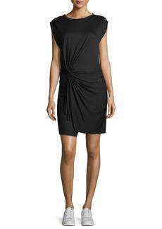 A.L.C. Elsie Crewneck Cap-Sleeve Knotted Jersey Dress
