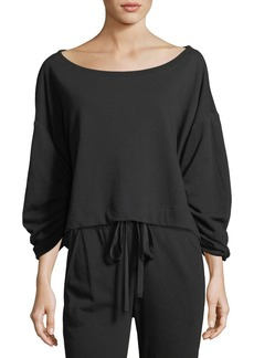 A.L.C. Ember Boat-Neck Ruched-Sleeve Sweatshirt