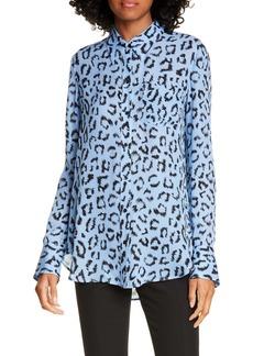A.L.C. Emerson Leopard Print Silk Top