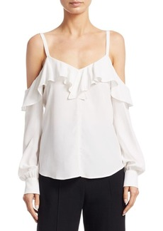 A.L.C. Felix Cold-Shoulder Silk Top