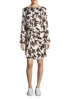 A.L.C. Freja Twist-Front Printed Silk Dress
