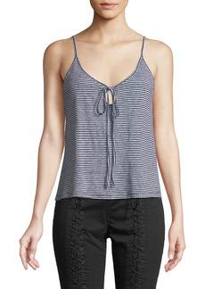 A.L.C. Gia Striped Linen Keyhole Tank Top