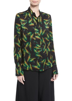 A.L.C. Gosford Button-Front Printed Silk Top
