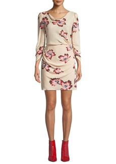 A.L.C. Grace Floral-Print Cowl-Neck 3/4-Sleeve Mini Dress