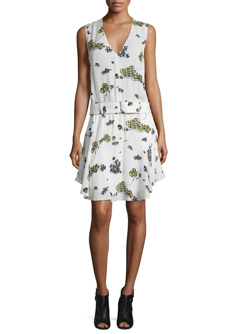 A.L.C. Hadley Belted Floral Silk Dress