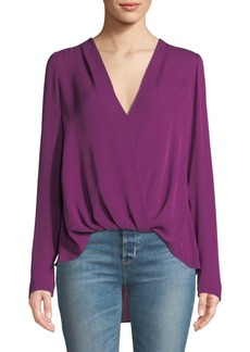 A.L.C. Harmon Draped V-Neck Silk Top