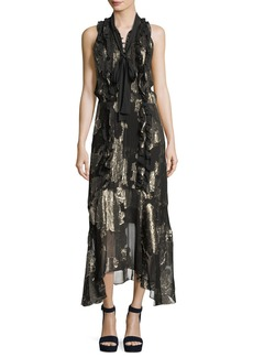 A.L.C. Harriet Sleeveless Tie-Neck Silk Metallic Long Dress