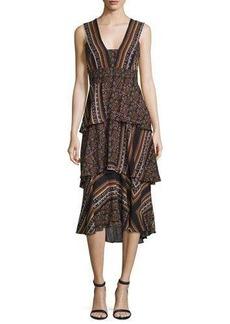 A.L.C. Hayley Sleeveless Tiered Multipattern Midi Dress