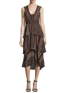 A.L.C. Hayley Sleeveless Tiered Multipattern Midi Dress  Brown/Multicolor
