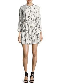 A.L.C. Hazel Button-Front Paisley Silk Dress