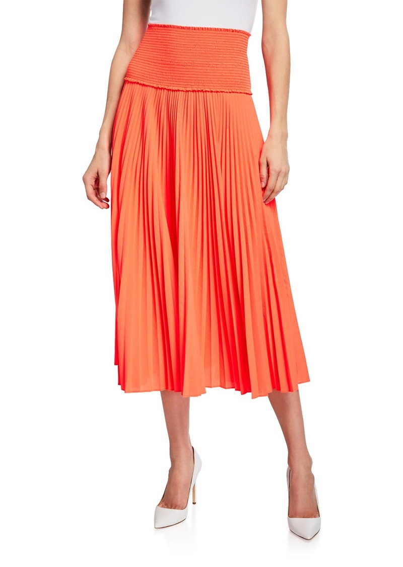 A.L.C. Hedrin Smocked Pleated Midi Skirt