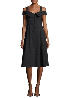 A.L.C. Hudson Button-Front Linen-Blend Midi Dress