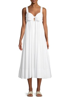 A.L.C. Iris Tie-Front Cotton Midi Dress