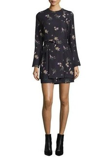 A.L.C. Jardani Belted Floral Silk Mini Dress