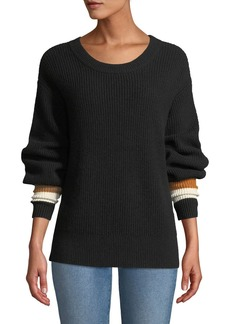 A.L.C. Jasper Colorblock-Cuffs Ribbed Cashmere-Blend Sweater