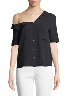 A.L.C. Josephine One-Shoulder Button-Front Silk Top