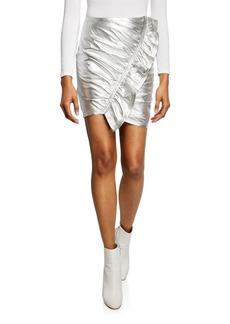 A.L.C. Jupiter Metallic Leather Ruffle Skirt