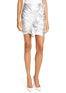 A.L.C. Jupiter Ruffle Metallic Leather Miniskirt
