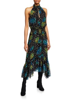 A.L.C. Kaia Printed Asymmetric Halter Dress