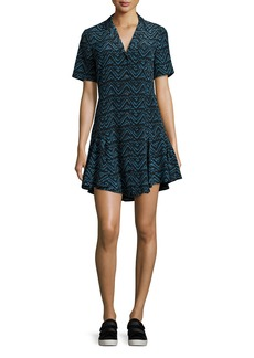 A.L.C. Kayden Printed Button-Front Silk Shirtdress