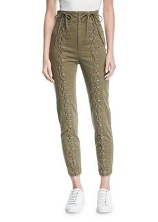 A.L.C. Kingsley High-Waist Lace-Up Skinny Pants