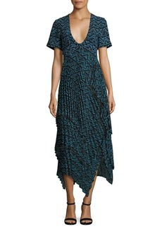 A.L.C. Kylia Plissé Silk Maxi Dress