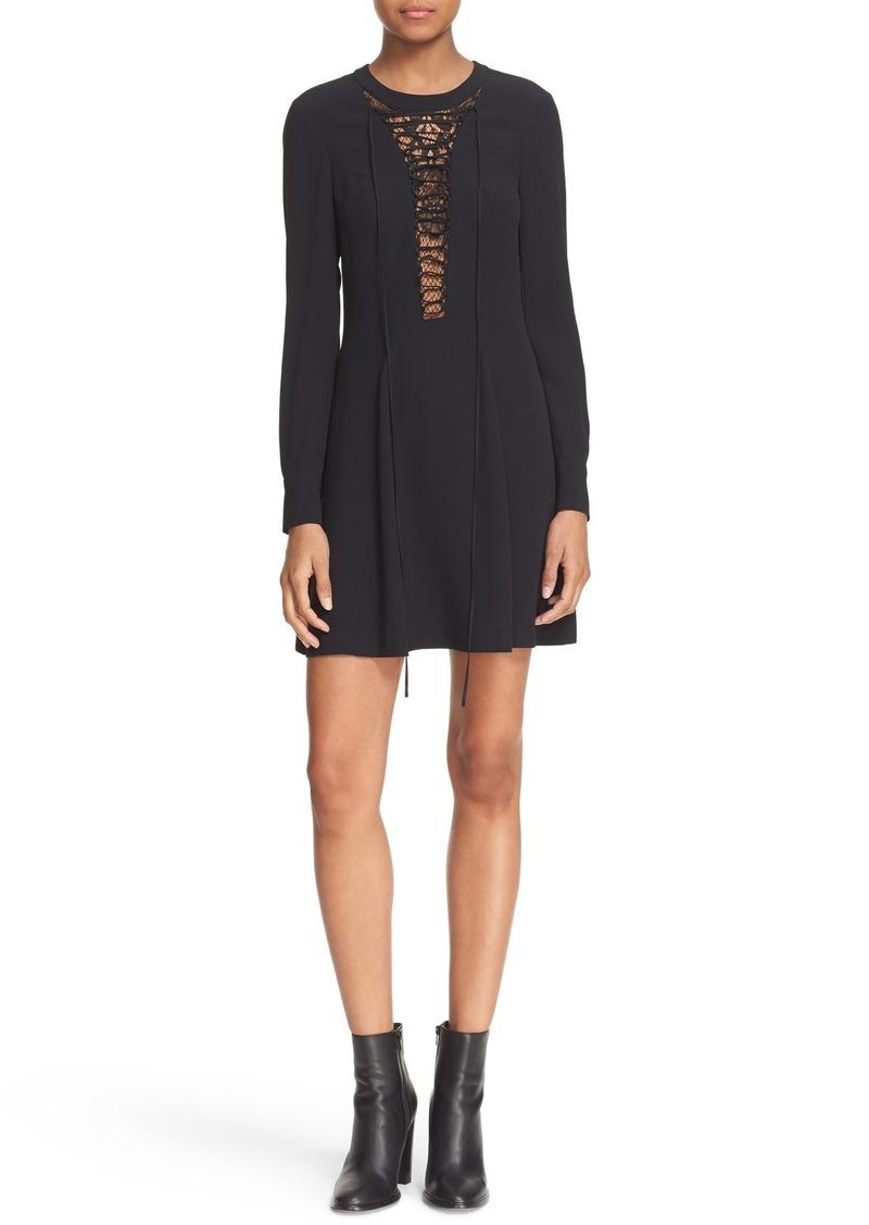 A.L.C. Lace-Up Lace Inset Fit & Flare Dress