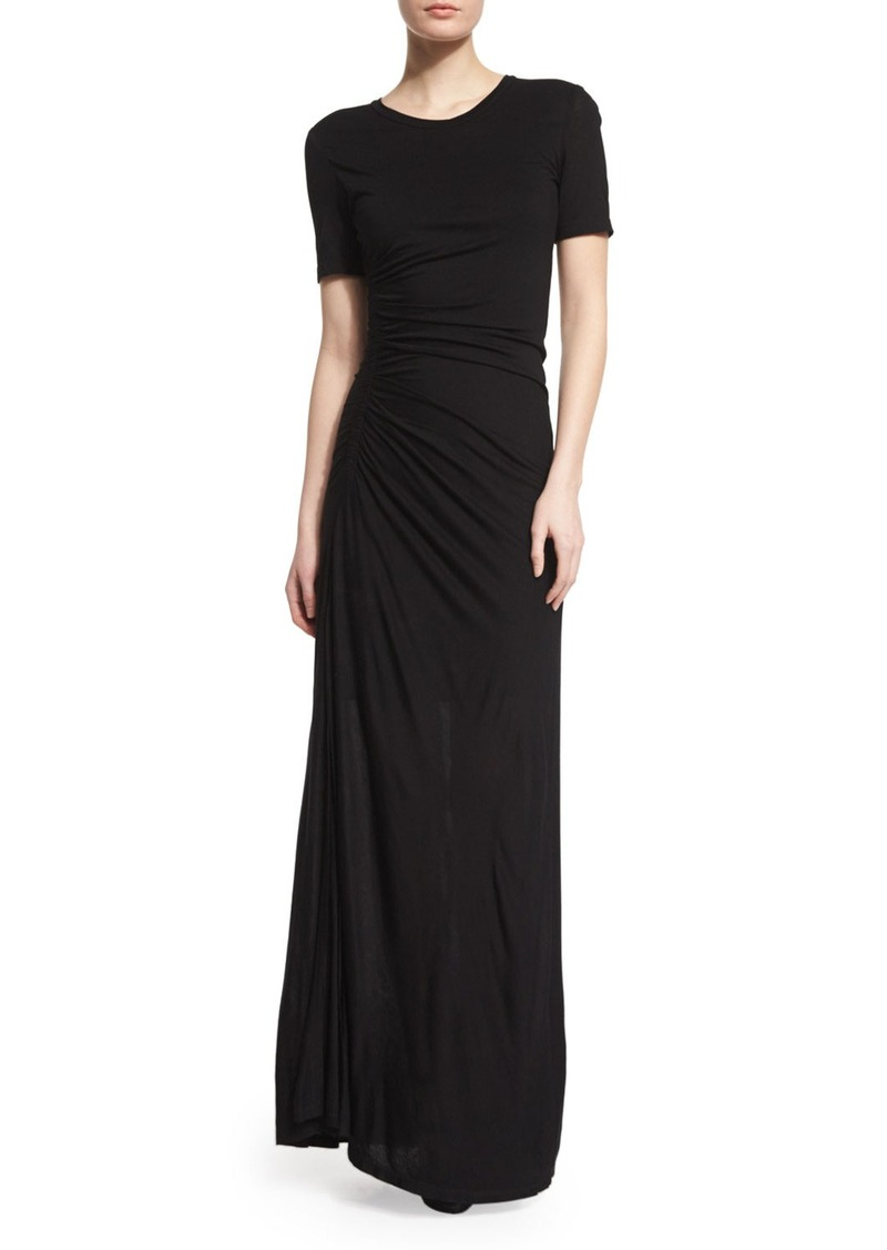 A.L.C. Laila Short-Sleeve Ruched Maxi Dress