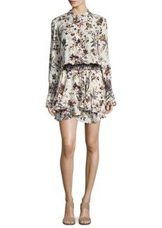 A.L.C. Landry Long-Sleeve Blouson Floral-Print Silk Dress