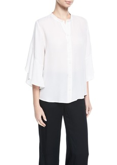 A.L.C. Lennon Button-Front Silk Blouse