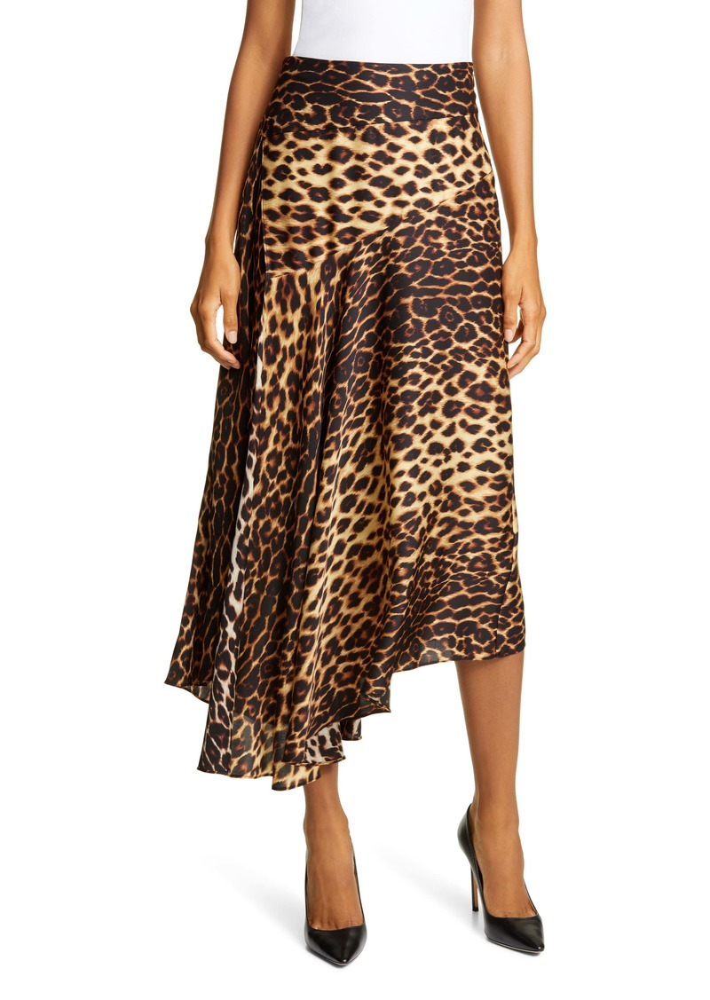 A.L.C. Lev Leopard Print Asymmetrical Stretch Silk Midi Skirt