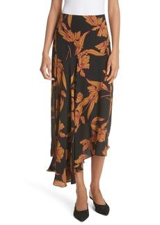 A.L.C. Lev Print Silk Midi Skirt