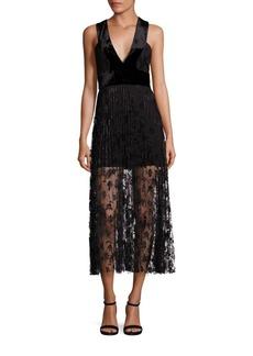 A.L.C. Lola Velvet & Embroidered Lace Midi Dress