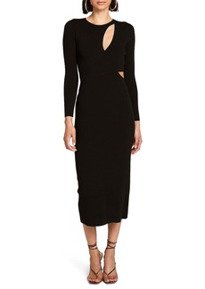 A.L.C. Lorelei Long Sleeve Cutout Knit Midi Dress